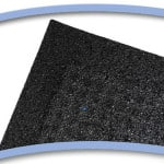 All rubber backing in made from crumb rubber of recycled tires